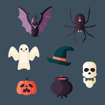 Colección de elementos planos de halloween