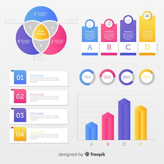 Colección con elementos planos infográficos