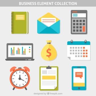 Colección de elementos planos de negocios
