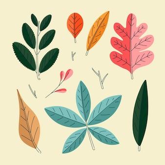 Colección elementos planos otoñales dibujados a mano
