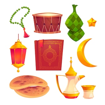Colección de elementos planos de ramadan kareem