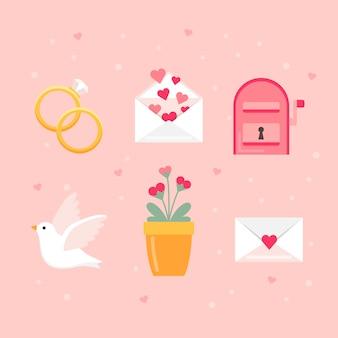 Colección de elementos planos de san valentín