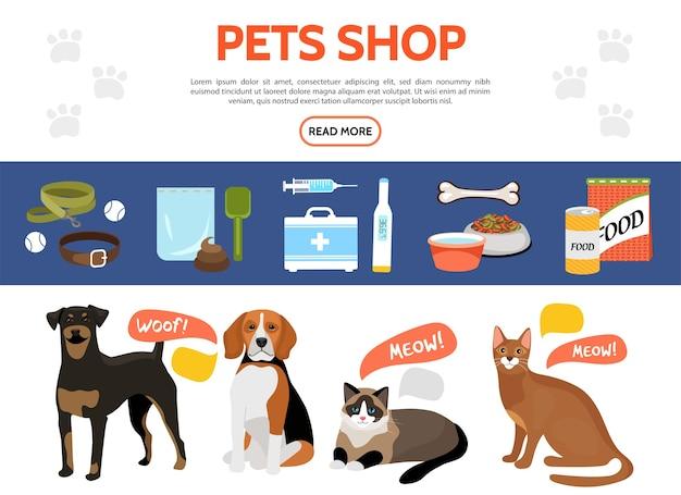 Colección de elementos planos de la tienda de mascotas con perros lindos gatos collar de comida para animales correa equipo médico