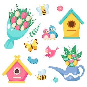 Colección de elementos de primavera casita para pájaros, ramo de flores, regadera con flores