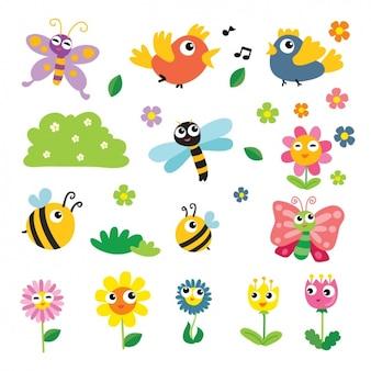 Colección de elementos de primavera