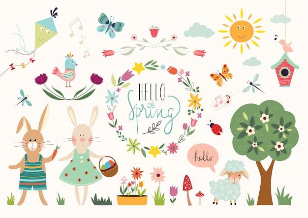 Colección de elementos primaverales con elementos decorativos y corona floral.