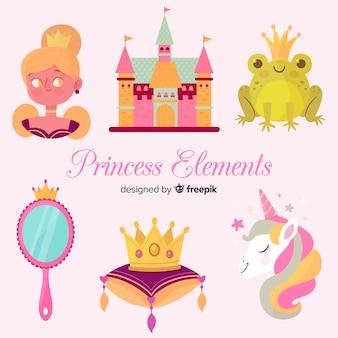 Colección elementos princesa dibujadas a mano
