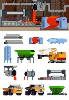 Colección de elementos de producción de acero y pancarta