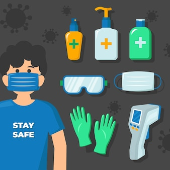 Colección de elementos de protección de equipos de virus
