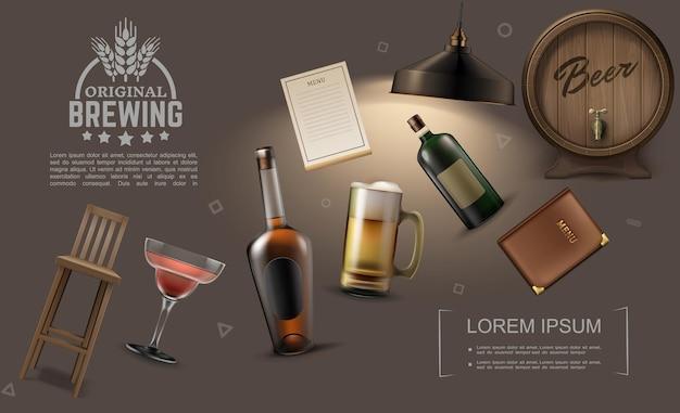 Colección de elementos de pub realista con botellas de bebidas alcohólicas jarra de cerveza silla de cristal de cóctel bar menú lámpara barril de madera