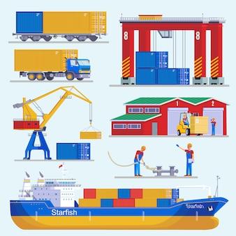 Colección de elementos del puerto marítimo