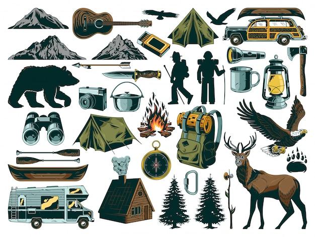 Colección de elementos de recreación al aire libre vintage. con animales salvajes, cosas para viajar, viajar, aventuras, viajes, explorar, acampar en montañas y canoas.