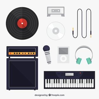 Colección de elementos relacionados con la música
