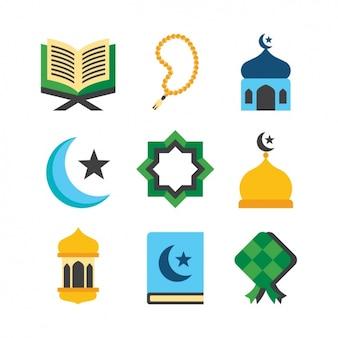 Colección de elementos religiosos islámicos