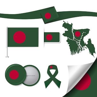 Colección de elementos representativos de bangladesh