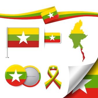Colección de elementos representativos de birmania