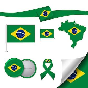 Colección de elementos representativos de brasil