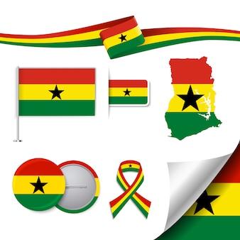 Colección de elementos representativos de ghana
