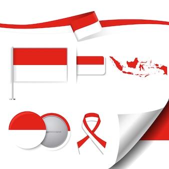 Colección de elementos representativos de indonesia