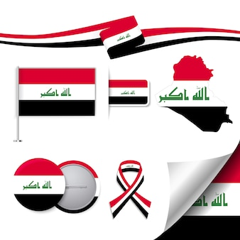 Colección de elementos representativos de irak