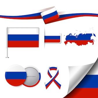 Colección de elementos representativos de rusia