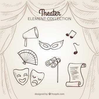 Colección de elementos retro de teatro dibujados a mano
