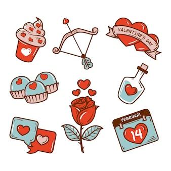 Colección de elementos de san valentín dibujados a mano