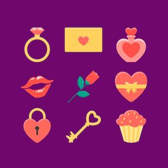 Colección de elementos de san valentín en diseño plano