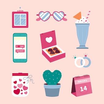 Colección de elementos para san valentín en diseño plano