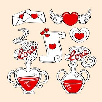 Colección de elementos de san valentín estilo dibujado a mano