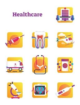 Colección de elementos sanitarios y médicos.