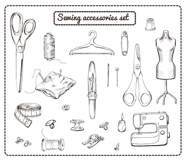 Colección de elementos de sastrería dibujados a mano