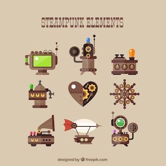 Colección de elementos steampunk en diseño plano