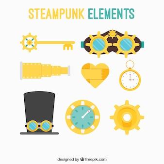 Colección de los elementos de steampunk plana