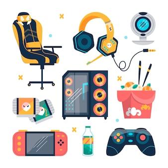 Colección de elementos de streamer de juego plano orgánico