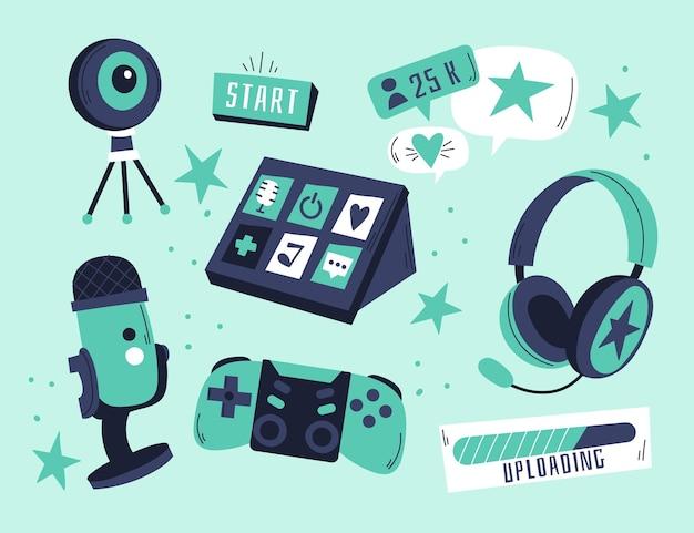 Colección de elementos de streamer de juegos dibujados a mano
