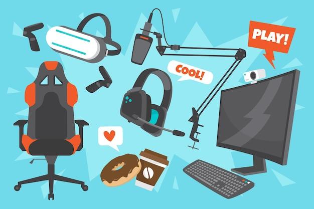 Colección de elementos de streamer de juegos