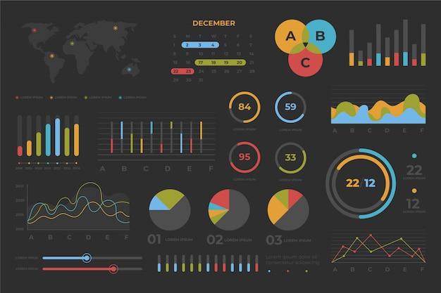 Colección de elementos de tablero con conjunto de infografías coloridas.