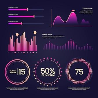 Colección de elementos del tablero de instrumentos de infografía