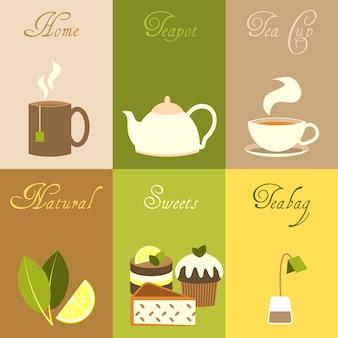 Colección de elementos de té