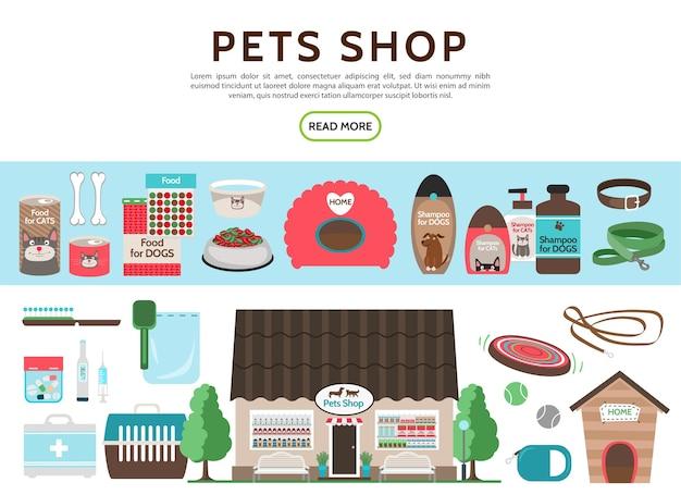 Colección de elementos de tienda de mascotas planas