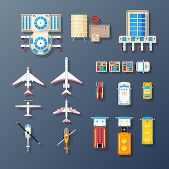 Colección de elementos de transporte e instalaciones del aeropuerto.