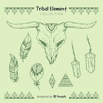 Colección elementos tribales dibujados a mano