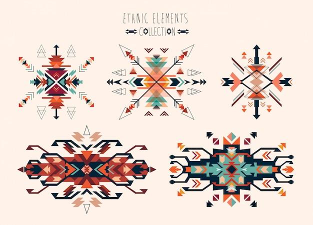 Colección de elementos tribales étnicos de diseño vectorial.