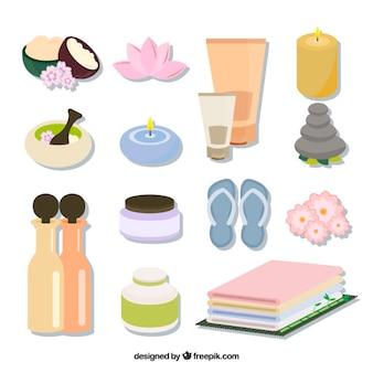 Colección de elementos útiles de spa