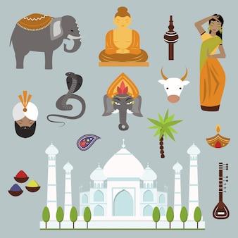 Colección de elementos de vector de viajes de hito de india