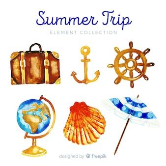 Colección de elementos de verano de acuarela
