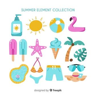 Colección elementos de verano dibujados a mano