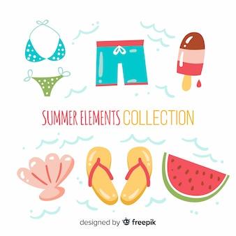 Colección elementos verano dibujados a mano