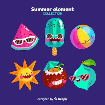Colección elementos de verano dibujos animados